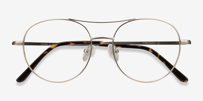 Cassini Silver Metal Eyeglass Frames from EyeBuyDirect, Closed View