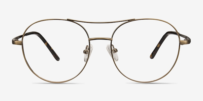 Cassini Brown Metal Eyeglass Frames from EyeBuyDirect, Front View