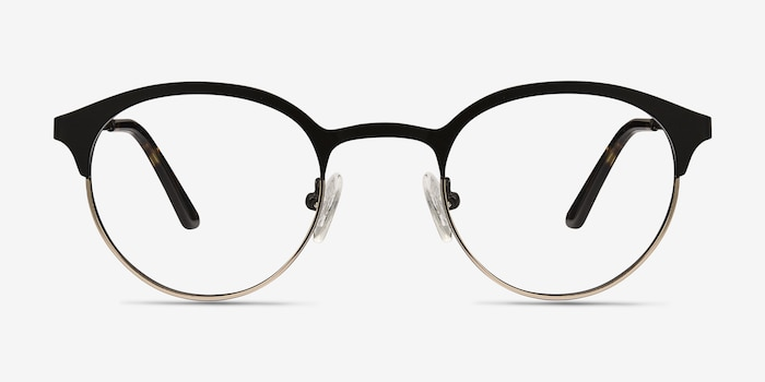 Fixate Black Golden Metal Eyeglass Frames from EyeBuyDirect, Front View