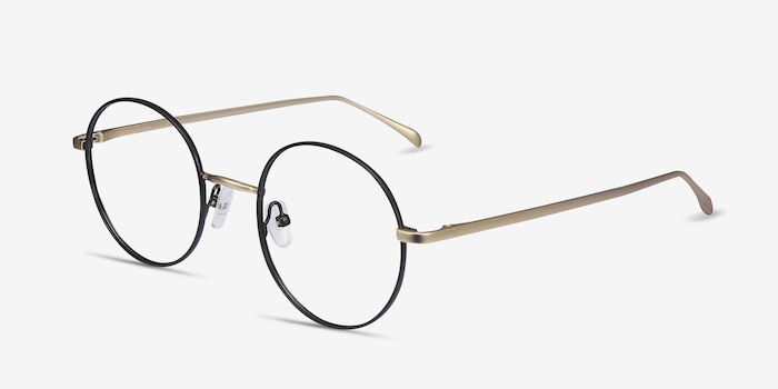 Synapse Black Metal Eyeglass Frames from EyeBuyDirect, Angle View
