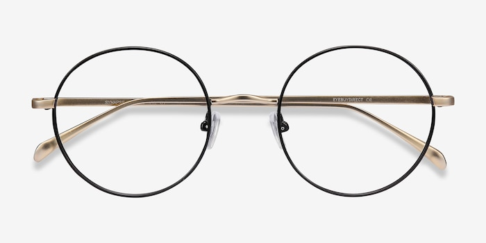 Synapse Black Metal Eyeglass Frames from EyeBuyDirect, Closed View