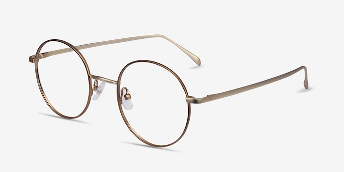 Synapse Brown Metal Eyeglass Frames from EyeBuyDirect, Angle View