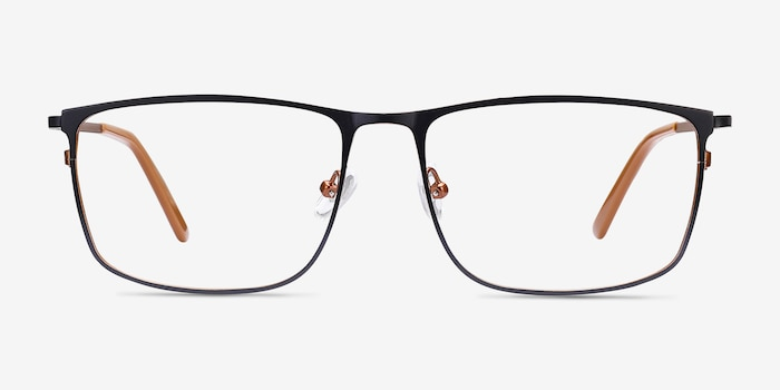 Typha Navy Metal Eyeglass Frames from EyeBuyDirect, Front View