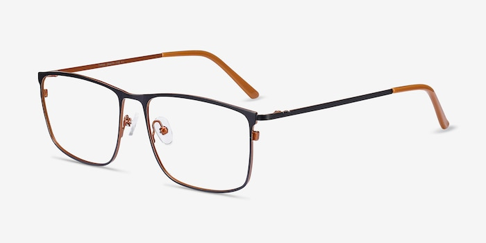 Typha Navy Metal Eyeglass Frames from EyeBuyDirect, Angle View