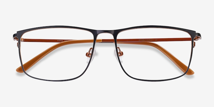 Typha Navy Metal Eyeglass Frames from EyeBuyDirect, Closed View