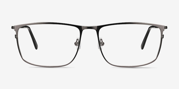 Typha Gunmetal Metal Eyeglass Frames from EyeBuyDirect, Front View