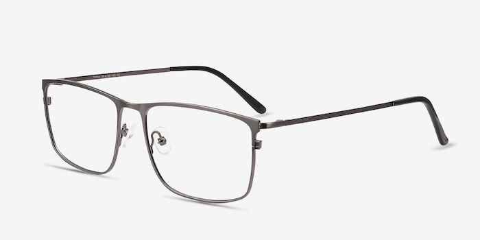 Typha Gunmetal Metal Eyeglass Frames from EyeBuyDirect, Angle View