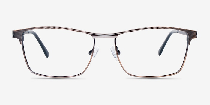 Caliber Brown Metal Eyeglass Frames from EyeBuyDirect, Front View
