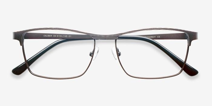 Caliber Marron Métal Montures de Lunettes d'EyeBuyDirect, Vue Rapprochée