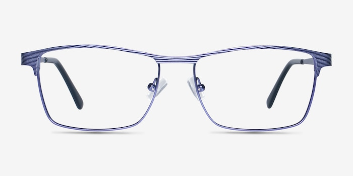 Caliber Blue Metal Eyeglass Frames from EyeBuyDirect, Front View