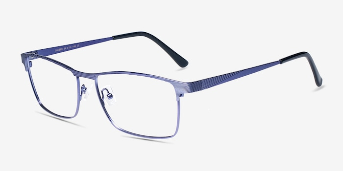 Caliber Blue Metal Eyeglass Frames from EyeBuyDirect, Angle View
