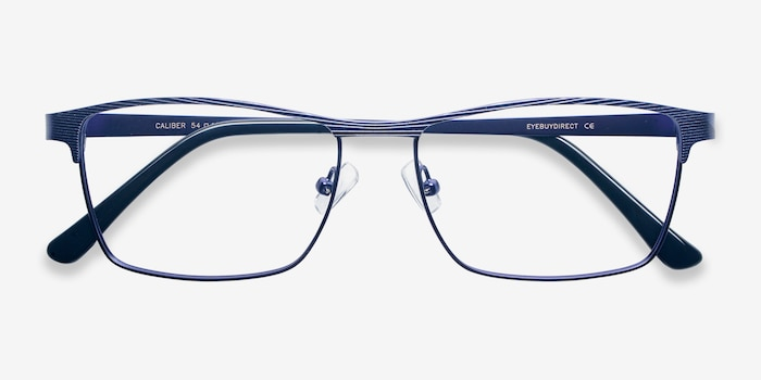 Caliber Blue Metal Eyeglass Frames from EyeBuyDirect, Closed View