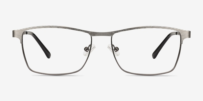 Caliber Gunmetal Metal Eyeglass Frames from EyeBuyDirect, Front View