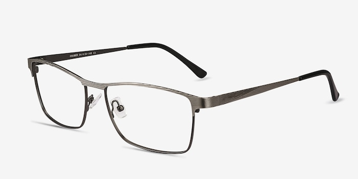 Caliber Gunmetal Metal Eyeglass Frames from EyeBuyDirect, Angle View