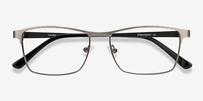 Caliber Gunmetal Metal Eyeglass Frames from EyeBuyDirect, Closed View