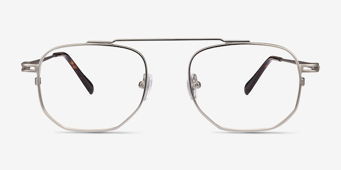 Cordon Matte Silver Metal Eyeglass Frames from EyeBuyDirect, Front View