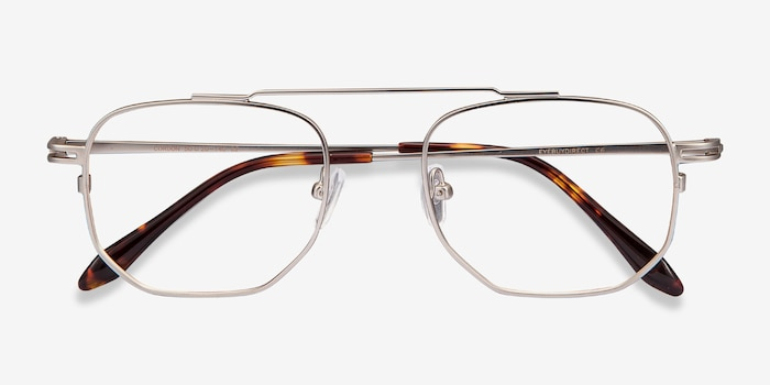 Cordon Matte Silver Metal Eyeglass Frames from EyeBuyDirect, Closed View