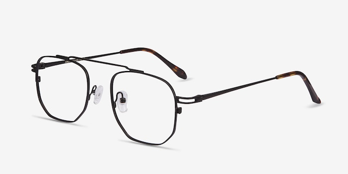 Cordon Black Metal Eyeglass Frames from EyeBuyDirect, Angle View