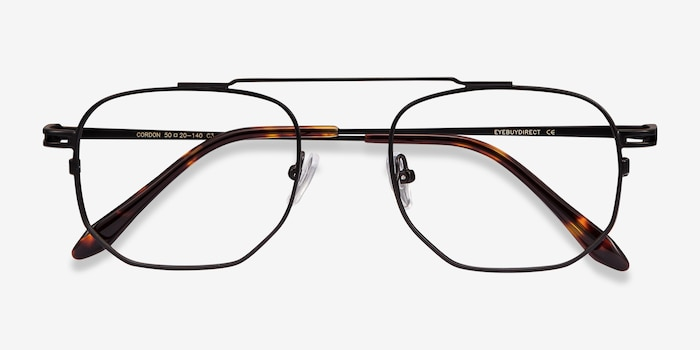 Cordon Black Metal Eyeglass Frames from EyeBuyDirect, Closed View