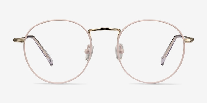 Wistful Matte Pink Metal Eyeglass Frames from EyeBuyDirect, Front View