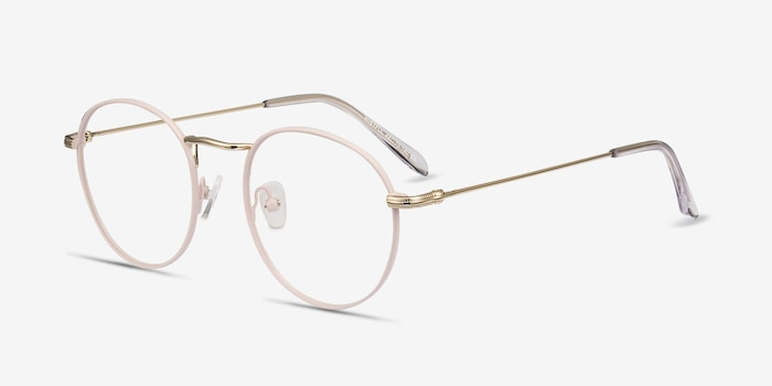 Wistful Matte Pink Metal Eyeglass Frames from EyeBuyDirect, Angle View
