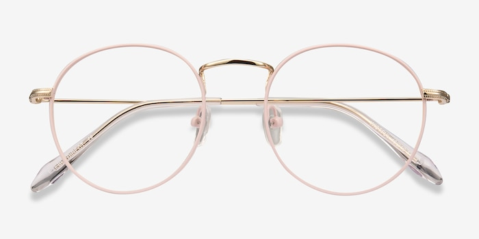 Wistful Matte Pink Metal Eyeglass Frames from EyeBuyDirect, Closed View