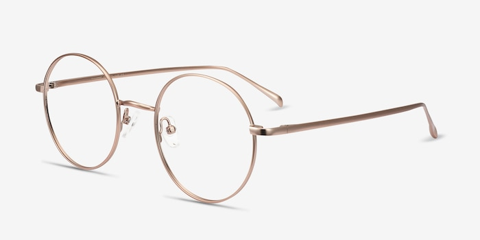 Synapse Pink Golden Metal Eyeglass Frames from EyeBuyDirect, Angle View