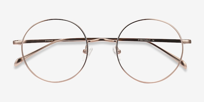 Synapse Rose Gold Metal Eyeglass Frames from EyeBuyDirect, Closed View