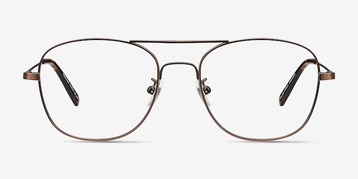 Courser Coffee Metal Eyeglass Frames from EyeBuyDirect, Front View