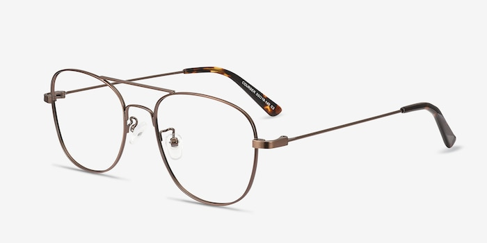Courser Coffee Metal Eyeglass Frames from EyeBuyDirect, Angle View