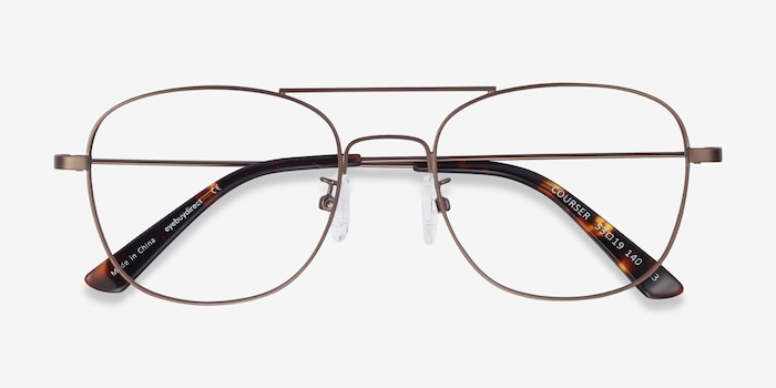 Courser Coffee Metal Eyeglass Frames from EyeBuyDirect, Closed View
