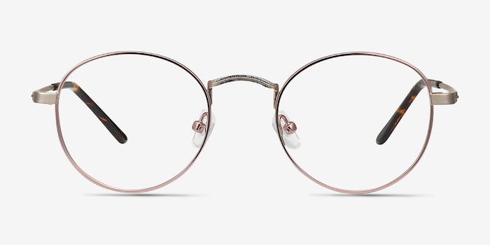 Cupertino Victorian Pink Metal Eyeglass Frames from EyeBuyDirect, Front View