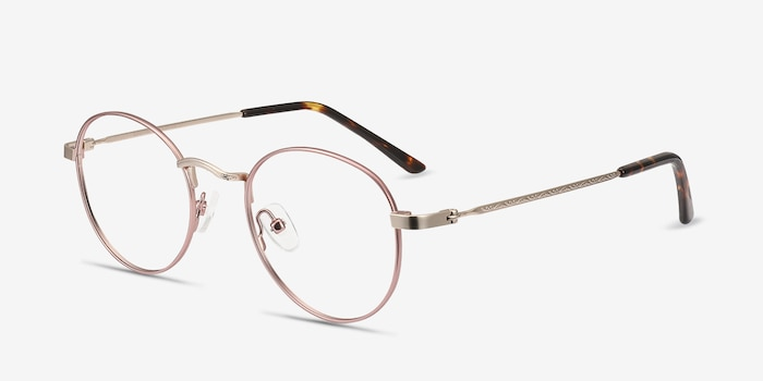 Cupertino Victorian Pink Metal Eyeglass Frames from EyeBuyDirect, Angle View