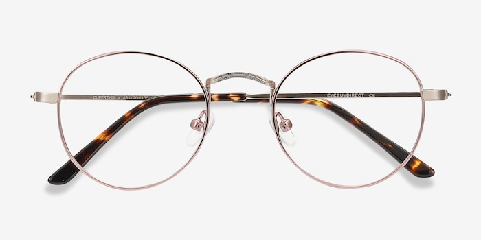Cupertino Victorian Pink Metal Eyeglass Frames from EyeBuyDirect, Closed View