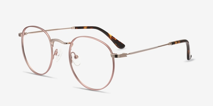Daydream Rose Gold Metal Eyeglass Frames from EyeBuyDirect, Angle View