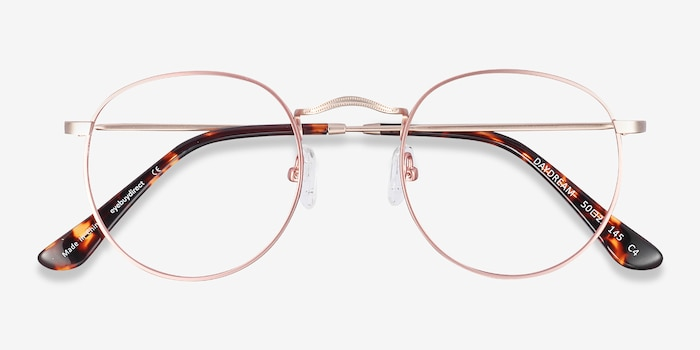 Daydream Rose Gold Metal Eyeglass Frames from EyeBuyDirect, Closed View