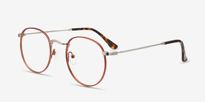Daydream Cinnamon Red Metal Eyeglass Frames from EyeBuyDirect, Angle View