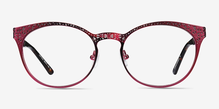 Lattice Red Purple Metal Eyeglass Frames from EyeBuyDirect, Front View