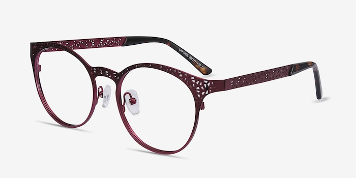 Lattice Red Purple Metal Eyeglass Frames from EyeBuyDirect, Angle View