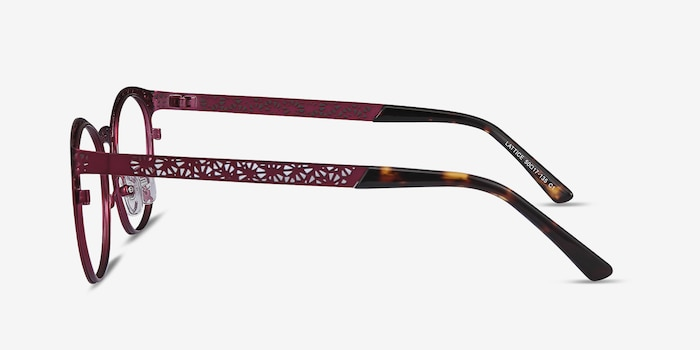 Lattice Red Purple Metal Eyeglass Frames from EyeBuyDirect, Side View