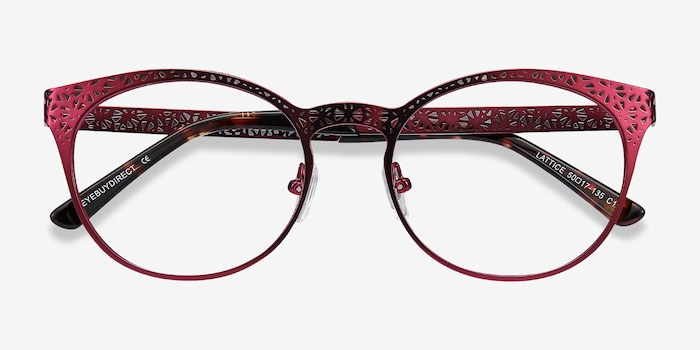 Lattice Red Purple Metal Eyeglass Frames from EyeBuyDirect, Closed View