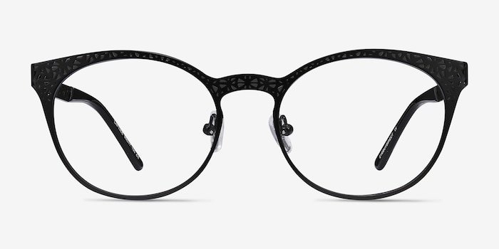 Lattice Black Metal Eyeglass Frames from EyeBuyDirect, Front View