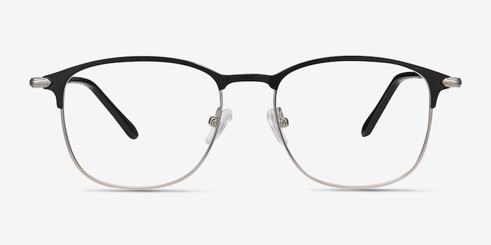 Cella Black Metal Eyeglass Frames from EyeBuyDirect, Front View