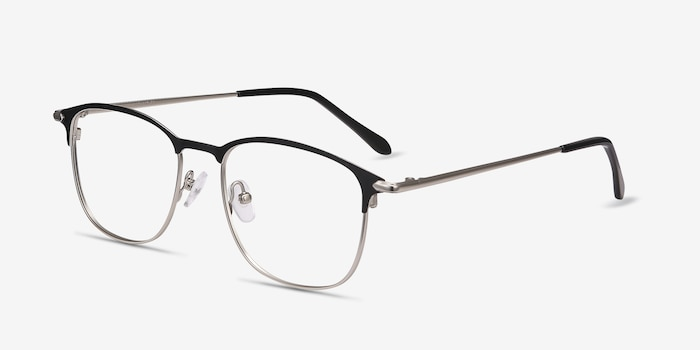 Cella Black Metal Eyeglass Frames from EyeBuyDirect, Angle View