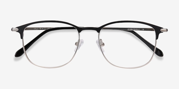 Cella Black Metal Eyeglass Frames from EyeBuyDirect, Closed View