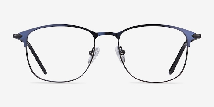 Cella Navy Metal Eyeglass Frames from EyeBuyDirect, Front View