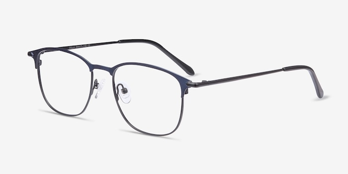 Cella Navy Metal Eyeglass Frames from EyeBuyDirect, Angle View