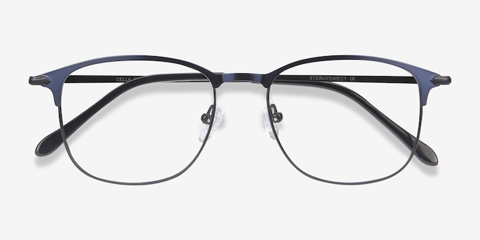 Cella Navy Metal Eyeglass Frames from EyeBuyDirect, Closed View