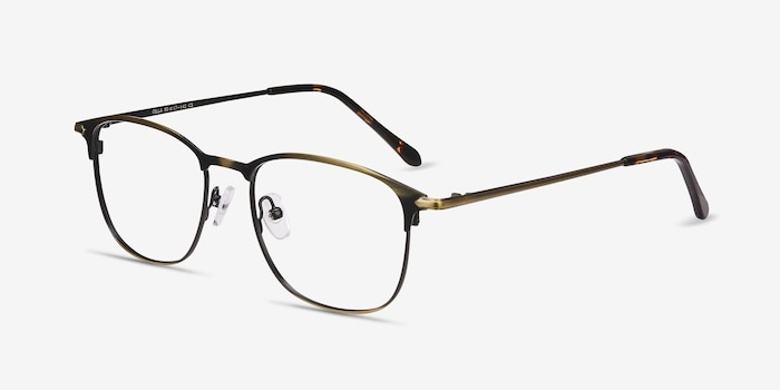 Cella Bronze Metal Eyeglass Frames from EyeBuyDirect, Angle View