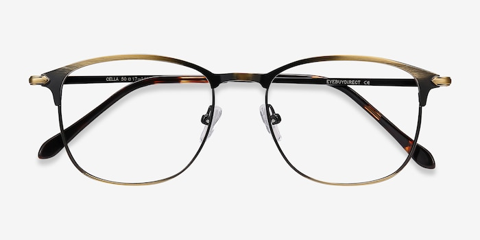 Cella Bronze Metal Eyeglass Frames from EyeBuyDirect, Closed View